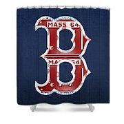 Boston Red Sox Logo Letter B Baseball Team Vintage License Plate Art Shower Curtain by Design Turnpike