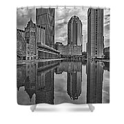 Boston Reflections Bw Shower Curtain