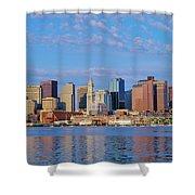Boston Skyline And Harbor, Massachusetts Shower Curtain