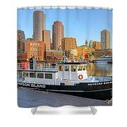 Boston Skyline And Thompson Island Ferry I Shower Curtain