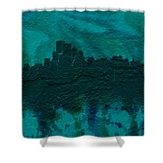 Boston Skyline Brick Wall Mural Shower Curtain