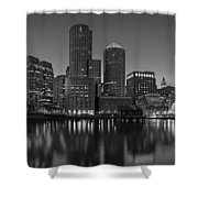 Boston Skyline Seaport District Bw Shower Curtain