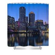 Boston Skyline Seaport District Shower Curtain