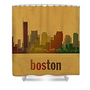 Boston Skyline Watercolor On Parchment Shower Curtain