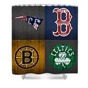 Boston Sports Fan Recycled Vintage Massachusetts License Plate Art Patriots Red Sox Bruins Celtics Shower Curtain