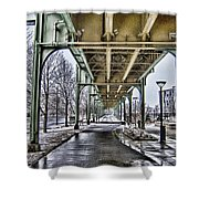 Boston Streetcar Overpass-cambridge V2 Shower Curtain