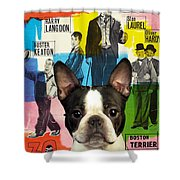 Boston Terrier Art - 30 Years Of Fun Movie Poster Shower Curtain
