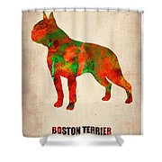 Boston Terrier Poster Shower Curtain by Naxart Studio