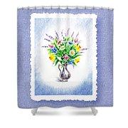Botanical Impressionism Watercolor Bouquet Shower Curtain
