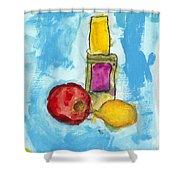 Bottle Apple And Lemon Shower Curtain