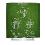 Bottle Cap Fastener Patent Drawing From 1907 - Green Shower Curtain