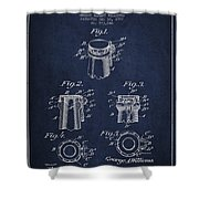 Bottle Cap Fastener Patent Drawing From 1907 - Navy Blue Shower Curtain
