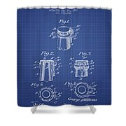 Bottle Cap Fastener Patent From 1907- Blueprint Shower Curtain