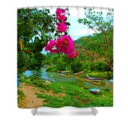Bouganvilla Watches Over Village Fishing Boats Shower Curtain