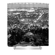 Boulder Colorado City Lights Panorama  Black And White Shower Curtain