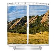 Boulder Colorado Flatirons White Window Frame Scenic View Shower Curtain