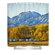 Boulder County Colorado Flatirons Autumn View Shower Curtain