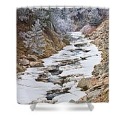 Boulder Creek Frosted Snowy Portrait View Shower Curtain