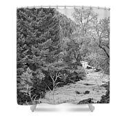 Boulder Creek Winter Wonderland Black And White Shower Curtain