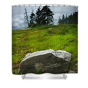 Boulder On The Shore At The Mount Desert Narrows In Maine Shower Curtain