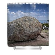 Boulder On Top Of Cadilac Mountain In Acadia National Park Shower Curtain