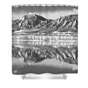 Boulder Reservoir Flatirons Reflections Boulder Co Bw Shower Curtain