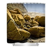 Boulders On The Beach At Torrey Pines State Beach Shower Curtain