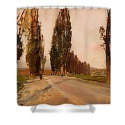 Boulevard Of Poplars Near Plankenberg Shower Curtain