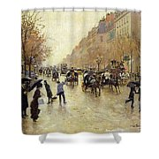 Boulevard Poissonniere In The Rain, C.1885 Oil On Canvas Shower Curtain