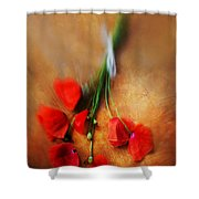 Bouquet Of Red Poppies And White Ribbon Shower Curtain