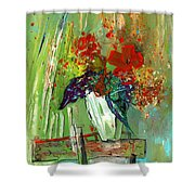 Bouquet In A White Vase Shower Curtain