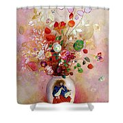 Bouquet Of Flowers In A Japanese Vase Shower Curtain by Odilon Redon