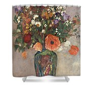 Bouquet Of Flowers In A Vase Shower Curtain by Odilon Redon