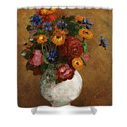 Bouquet Of Flowers In A White Vase Shower Curtain