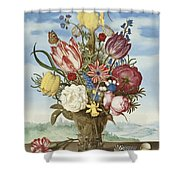 Bouquet Of Flowers On A Ledge Shower Curtain