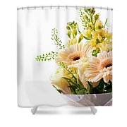 Bouquet Of Flowers On White Background Shower Curtain