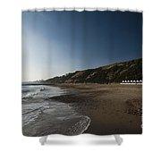 Bournemouth Beach Huts Shower Curtain