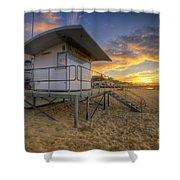 Bournemouth Beach Sunrise Shower Curtain