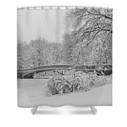 Bow Bridge In Central Park During Snowstorm Bw Shower Curtain by Susan Candelario