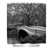 Bow Bridge Nyc In Black And White Shower Curtain