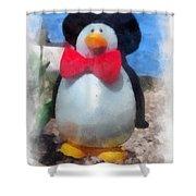 Bow Tie Penguin Photo Art Shower Curtain