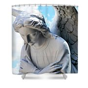Bowing Male Angel With Blue Sky And Clouds Shower Curtain
