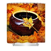 Bowl And Leaves Shower Curtain