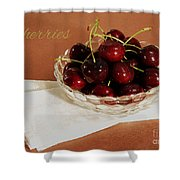 Bowl Of Cherries With Text Shower Curtain