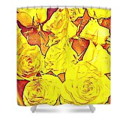 Bowl Of Fireroses Shower Curtain