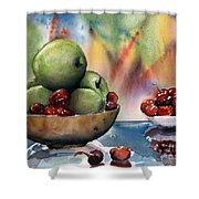 Apples In A Wooden Bowl With Cherries On The Side Shower Curtain