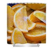 Bowl Of Sliced Oranges Shower Curtain