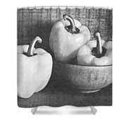 Bowl With Three Peppers Shower Curtain