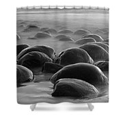 Bowling Ball Beach Bw Shower Curtain