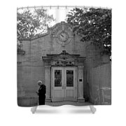 Bowling Green Subway Time In Black And White Shower Curtain
